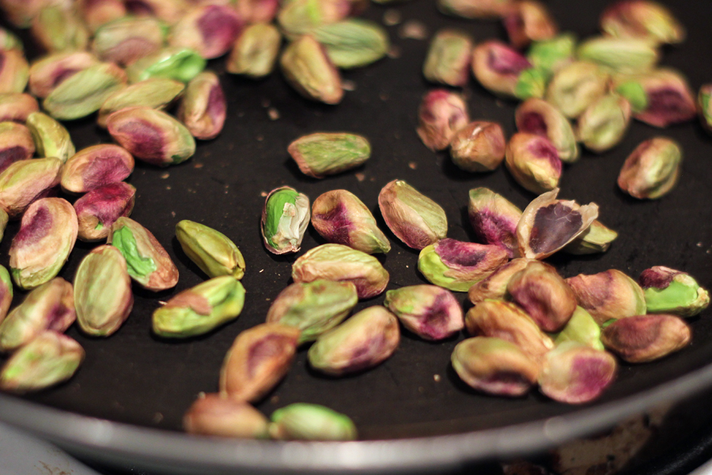 Toast the pistachios in a dry skillet for 5-7 minutes, tossing ...