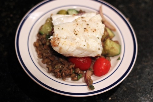 Seared Cod with Mediterranean Lentils - bites out of life