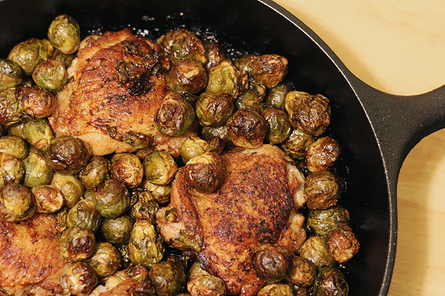 Chicken and brussels sprouts skillet bites out of life for Chicken and brussel sprouts skillet